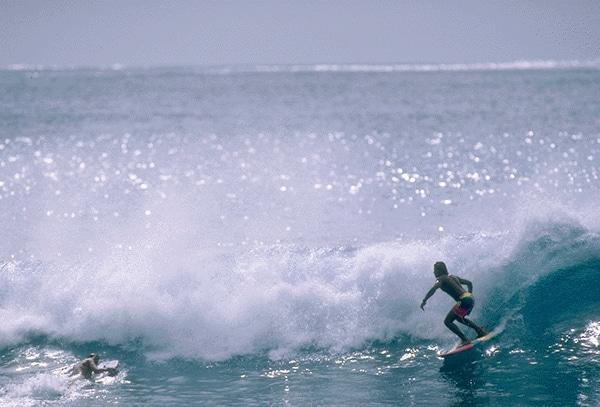 Du surf sur des grandes vagues